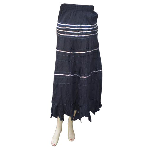 Handmade Cotton Skirts With Inside Lining, Sequins And Strips (Free Shipping) Skrt0004r