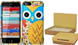 Cute Patchwork Yellow Owl Hard Snap On Case Cover Faceplate Protector for Apple iPhone 5 (AT&T / Verizon / Sprint) + Free Texi Gift Box