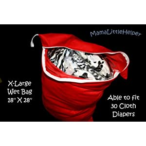 Image: X-Large PUL Reusable/ Washable Baby Cloth Diaper/ Nappy Swim or Wet Bag - Made out of PUL to ensure waterproof and to avoid leakage and keep wetness contained.