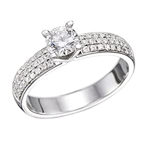 GIA Certified 14k white-gold Round Cut Diamond Engagement Ring (1.90 cttw, E Color, SI1 Clarity)