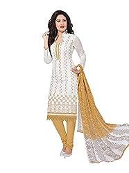 RK Fashion Womens Cotton Un-Stitched Salwar Suit Dupatta Material ( RAJGURU-PAHELI-9272-White-Free Size )