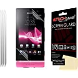 TECHGEAR® **PACK OF 3** CLEAR LCD Screen Protector Guards with Cleaning Cloth For SONY XPERIA U ST25i