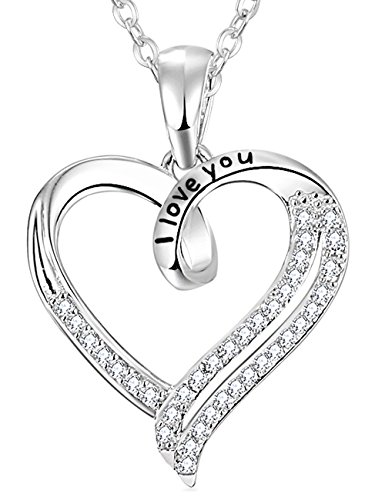 """Elda & Co. 18K Gold Plated Sterling Silver Heart Necklace with 18"""" Rolo Chain """"I Love You"""" Engraved Heart Precious Diamond Pendant With Cubic Zirconia Gems-Perfect Present Idea For Her"""