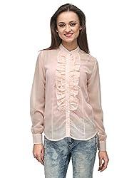 Vemero Women's Ruffled Shirt__VCT-0004-PNK_ Pastel Pink_M