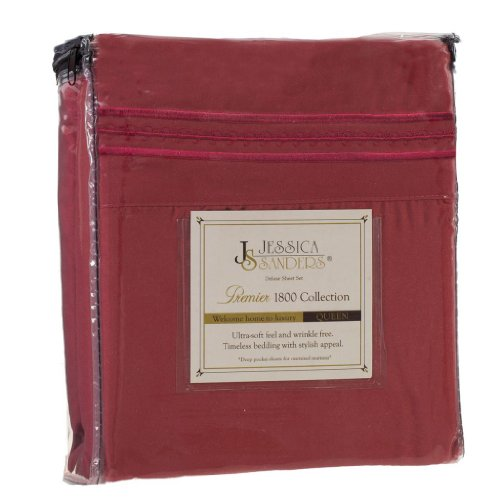 Jessica Sanders Premier 1800 Series 3Pc Bed Sheet Set- Twin (Single), Burgundy Red, (75?X39? Fits Xl) - Jessica Sanders Embroidery