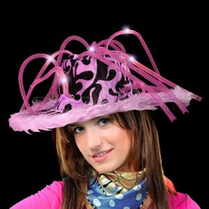 Fun Central AD149 LED Light Up Furry Pimp Hat - Pink - 1