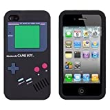 Iphone 4 Black Color Silicone Gameboy Case w/Free Screen Protector by Case2o