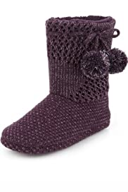 Per Una Knitted Pom Pom Boot Slippers [T82-6610-S]