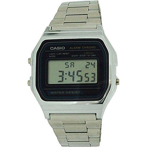 CASIO A158WA Gents-Mens Digital Chronograph Silver Tone Metal Bracelet Watch
