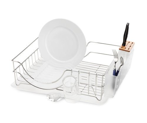 simplehuman System Dishrack with Bamboo Knife Block, Stainless Steel (Simplehuman Dish Drying Rack compare prices)