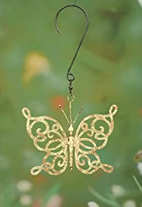 Scroll Butterfly Decorative Spinner Size: Small, Color: Yellow