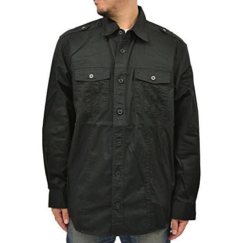 (エアウォーク) AIR WALK 大きいサイズ ミリタリー 長袖 オーバー シャツ 3L ブラック