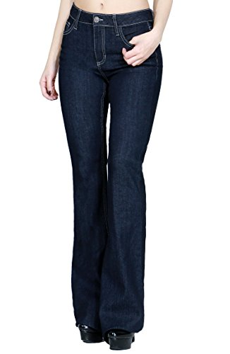 Women Fashion Trendy Sexy High Waisted Stylish Flare Bell Bottom Jean (SIZE : 5, DENIM-WV34362)