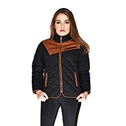 Hermosear quilted black with brown suede jacket