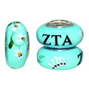 Zeta Tau Alpha Sorority Hand Painted Fenton Glass Bead