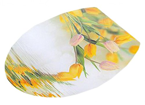 EOZY Yellow Tulip Pattern Bathroom Toilet Seat Lid Cover Decal Sticker