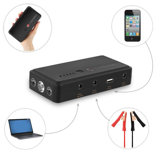 "PowerGo ""Unbelievably Portable"" 12 Volt Car Battery Jump Starter Booster and Power Bank. Includes: Premium Recoil Free Jumper Cables. Laptop and Smartphone Charging Cables. Car Charger for the PowerGo"
