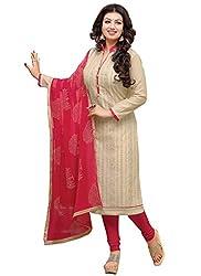 Present Beige Chanderi Cotton Dress Material