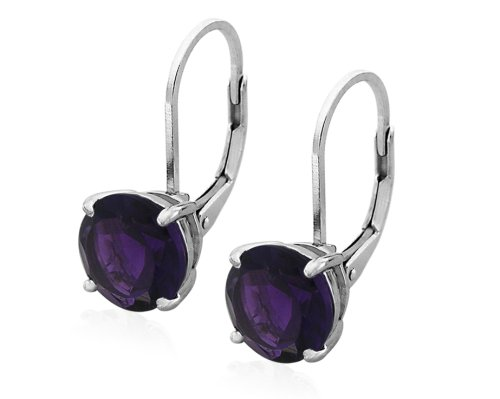 Sterling Silver 8mm Round Amethyst Lever Back Earrings