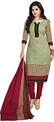 SP Marketplex Women's Cotton Unstitched Dress Materials (Spmsg333, Beige And Maroon)