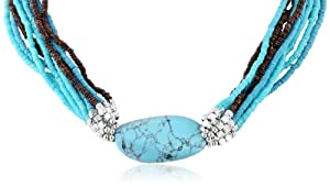 "Kenneth Cole New York ""Semiprecious Bead Item"" Turquoise Oval Stone Multi-Row Necklace, 20"""