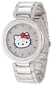 Hello Kitty Women's H3WL1046SV Silvertone Case and Bracelet Accent Ribbed Ray Watch