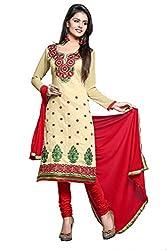 Khushali Women Chanderi Unstitched Salwar Suit (Chickoo)