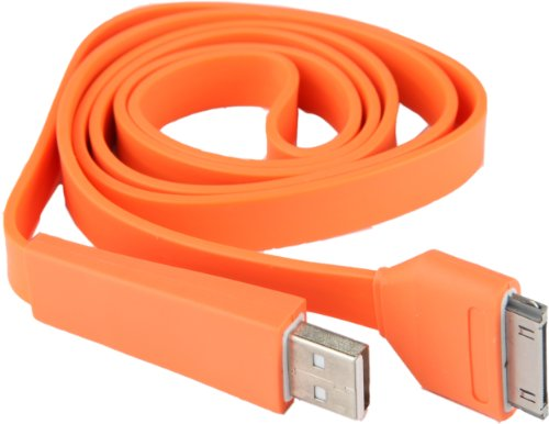 iPhone 4- Flat, Tangle Free, And Cool Colored Cable (Orange)