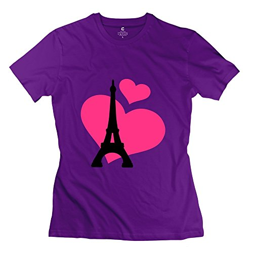 Glycwh Women'S Eiffel Tower Paris T-Shirt Purple Us Size Xs 100% Cotton