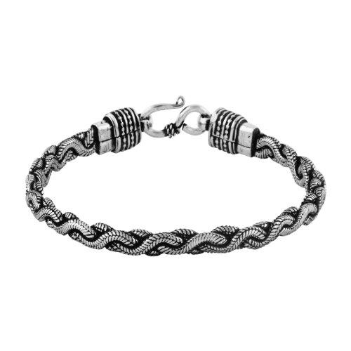 Silver Oxidized Snake Chain Bracelet