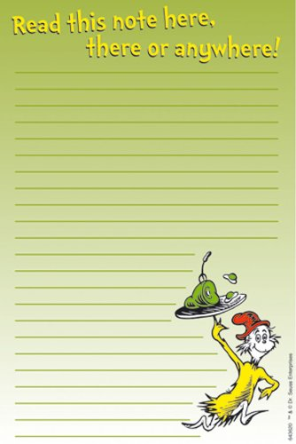 Eureka Dr. Seuss Green Eggs Ham Note Pads