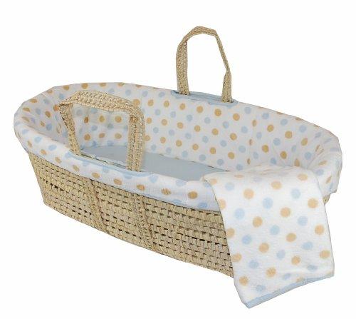 Tadpoles Polka Dot Micro Fleece Moses Basket Set, Blue