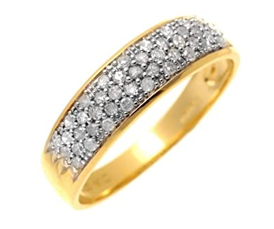 Ariel 9ct Yellow Gold 0.25ct Diamond Pave Ring