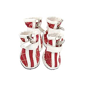 4 Pcs Pet Dog Nonslip Sole Zipped Faux Leather Boots Red White Size 1