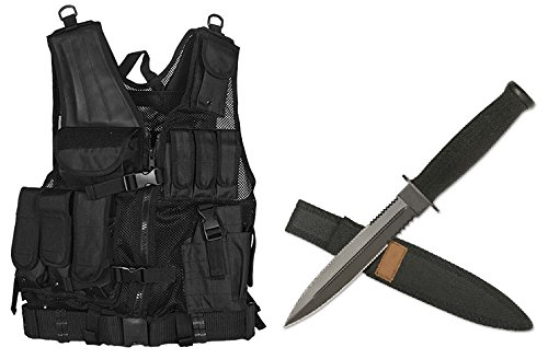Ultimate Arms Gear Stealth Black Lightweight Edition Tactical Vest Right Handed Quick Draw Pistol Holster + Fixed Blade Tactical Desert