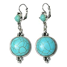 buy Ginasy 22Mm Round Turquoise Drop Earrings