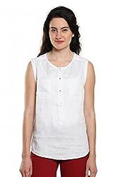 Women White Sleeveless Linen Top