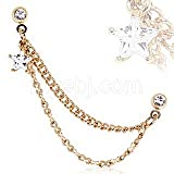 Gold Plated Double Chained Cartilage Earring with Clear Star Cz