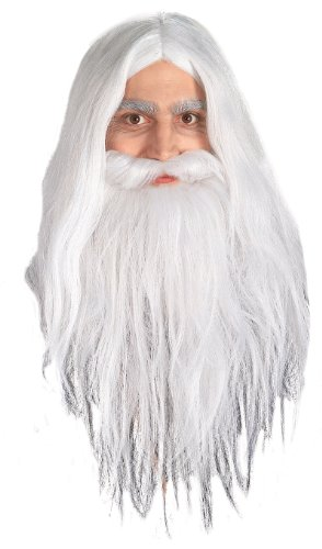 Lord Of The Rings Gandalf Beard And Set Wig, White, One Size