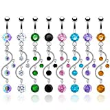 SBJ-0002 Stainless Steel Navel Ring Vine Dangle With CZ; Comes With Free Gift Box