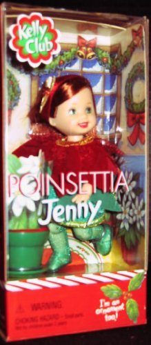 Barbie Kelly Club Christmas Poinsettia Jenny doll ornament too - 1