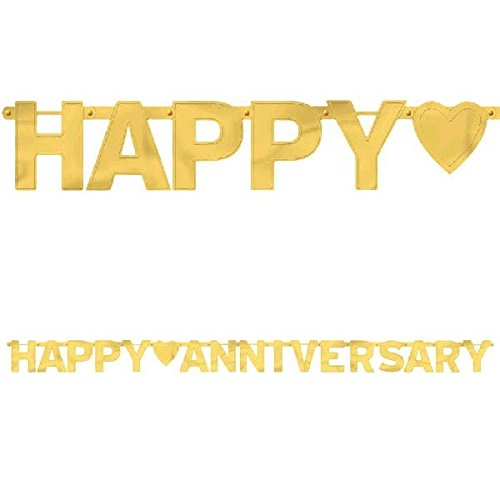 "Amscan Elegant Happy Large Foil Letter Banner Anniversary Party Supplies, 7-3/4' x 6-1/4"", Gold"