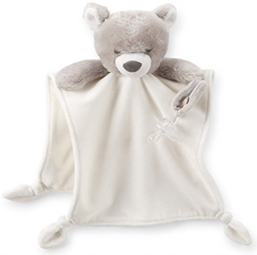 Carter's Ivory & Taupe Plush Teddy Cuddle Blanket with Rattle & Pacifier Holder - 1