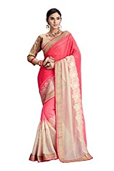 RUDDHI WOMEN'S DESIGNER SHADED PINK & CREAM FASHION GEORGETTE SAREE