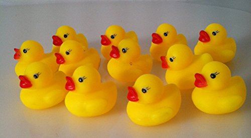 Review One Dozen (12) Mini Rubber Ducks Duckie Baby Shower Birthday Party Favors