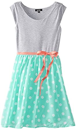 ZUNIE Big Girls' Cap Sleeve Knit To Chiffon Dress,  Mint Dot, Large
