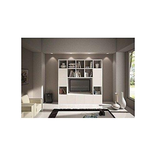 Estantería Pared Modern salón Puerta TV madera blanco frassinato Part
