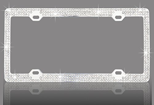 premium-white-color-glass-crystal-rhinestone-embedded-metal-chrome-license-plate-frame