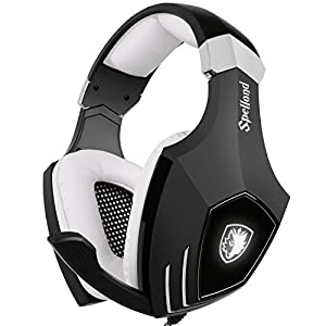 [2016 Newly Updated Gaming Headset] SADES A60/OMG PC Computer USB headsets, Wired Over Ear Stereo Heaphones With Microphone Noise Isolating Volume Control LED Light (Black+White)