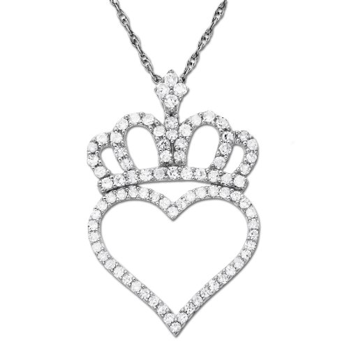 10k White Gold Diamond Crowned Open Heart Pendant (.328cttw, I-J Color, I3 Clarity), 18